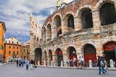 People In The Area Near Verona Arena In Preparation For The Annual Festival Of Opera. Verona, Italy