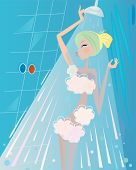 Spa and beauty: Woman below the shower bath
