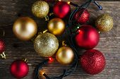 Christmas Decorations Balls On A Wooden Background