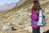 Young Hiking Woman On Mountains