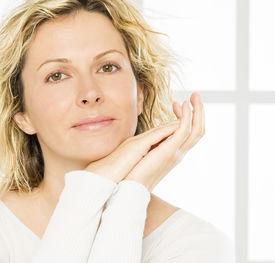 image of birthmark  - Portrait of nice 40 years old woman - JPG