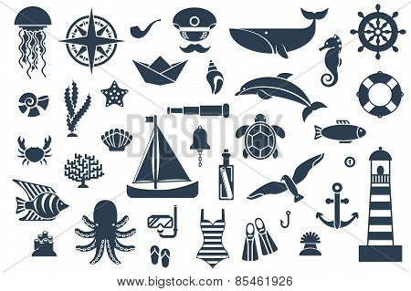 Flat symbols with ocean animals and images.