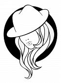 image of gangster  - Young girl in a vintage gangster hat on blaack round background - JPG