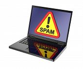 picture of spam  - Spam warning sign on laptop screen - JPG