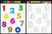 stock photo of sketch book  - Coloring book page for preschool children with colorful numbers and sketches to color - JPG