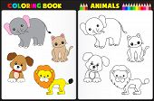 stock photo of sketch book  - Nature coloring book page for pre school children with colorful animals and sketches to color - JPG