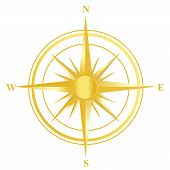 picture of longitude  - Illustration of a gold compass with all directions north east south and west isolated on white background - JPG