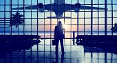 stock photo of terminator  - Businessman Airport Travel Waiting Trip Terminal Concept - JPG