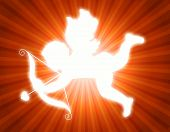 picture of cupid  - Illustration of a glowing cupid with its arrow on red and orange retro background - JPG