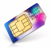 picture of micro-sim  - Color SIM card for mobile phone or smartphone isolated on white background - JPG