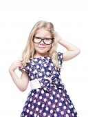 picture of annoyance  - Beautiful little girl in glasses annoyed isolated over white background - JPG