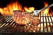 picture of flames  - Meat Chop Cooked On The Barbecue Grill - JPG