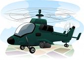 foto of military helicopter  - Illustration of an Assault Helicopter in the Middle of a Reconnaissance Mission - JPG