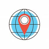 pic of directional  - Thin line icon with flat design element of global positioning system pin destination point on map exact coordinates direction pointer - JPG