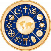 image of khanda  - World Map surrounded by 12 global religions in royal blue  - JPG