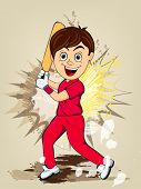 foto of cricket  - Cartoon of a smiling boy in playing action on abstract background for Cricket concept - JPG