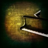 pic of grand piano  - abstract green grunge music background with grand piano - JPG
