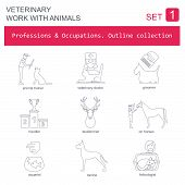 stock photo of working animal  - Professions and occupations outline icon set - JPG