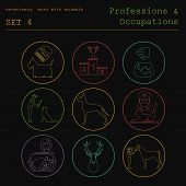 pic of working animal  - Professions and occupations outline icon set - JPG