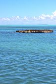 picture of gulf mexico  - blue isla contoy in mexico froath and blue foam the sea drop sunny day wave - JPG