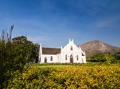 image of south-western  - Horizontal photo of the Dutch Reformed Church in Franschhoek in Winelands in Western Cape - JPG