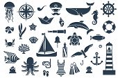 Постер, плакат: Flat icons with sea creatures and symbols