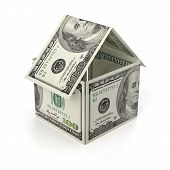 stock photo of one hundred dollar bill  - Real Estate Made Of One Hundred Dollar Bill - JPG