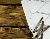 foto of mechanical drawing  - House construction - JPG