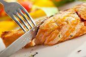 stock photo of salmon steak  - Salmon Steak with Corn and Green Asparagus - JPG