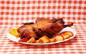 picture of roast duck  - Roast duck with apples and oranges on kitchen tablecloth - JPG
