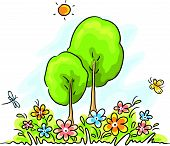 picture of summer insects  - Summer cartoon landscape - JPG