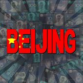 stock photo of yuan  - Beijing flag text on Yuan sunburst illustration  - JPG