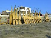 Traditional reed fishing boats, Peru.