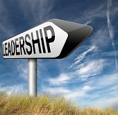 stock photo of leader  - leadership follow team leader great natural business leader or market leader road sign arrow  - JPG