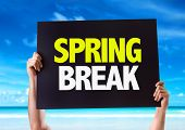 picture of spring break  - Spring Break card with beach background - JPG