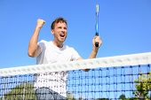 picture of winner man  - Tennis player celebrating victory - JPG