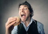 picture of hamburger  - Eating a hamburger - JPG