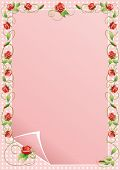 image of climbing roses  - Vector illustration frame of climbing flowers and leafs - JPG