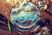 picture of trout fishing  - Illustration about fishing - JPG