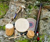 image of dancing rain  - Native American Drums with Rain Stick and Spirit Chaser - JPG