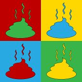 stock photo of excrement  - Pop art poop symbol icons - JPG