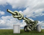 stock photo of artillery  - Photo illustration of an old artillery gun with the barrel tied in a knot and a blank stone waiting for your text - JPG