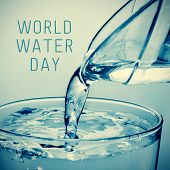 image of pitcher  - a glass of water which is being filled from a pitcher and the text world water day - JPG