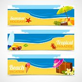 picture of sky diving  - Banner horizontal set of travel summer beach colorful tropical backgrounds isolated vector illustration - JPG