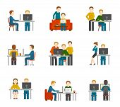 stock photo of coworkers  - Coworking center icons set with freelancer designer colleagues creative group working isolated vector illustration - JPG