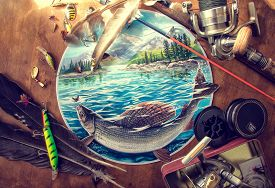 picture of fly rod  - Illustration about fishing - JPG