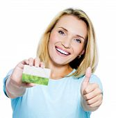 stock photo of blonde woman  - happy woman showing thumbs - JPG