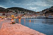 picture of hydra  - Yachts mooring at a quay at the busiest part of the port in Hydra - JPG