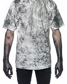 Man with dirty shirt