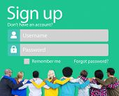 Sign Up Username Password Log In Protection Concept poster